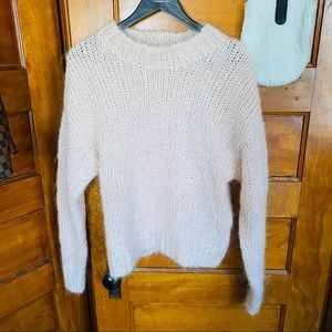 H&M Mohair Crewneck Sweater in Light Pink